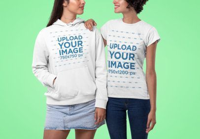 Download Placeit Mockup Of A Couple Wearing A Hoodie And A T Shirt Studio Wear Hoodies How To Wear