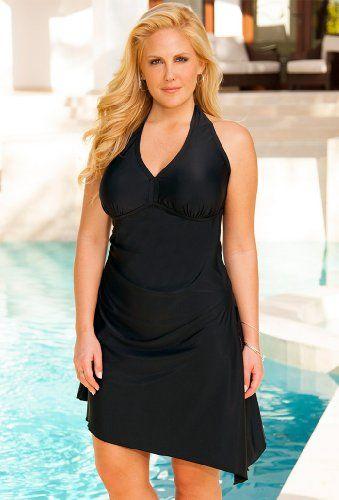 Plus size longer length swim dresses