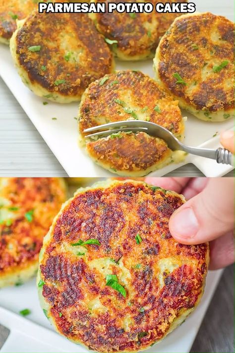 Of all the new recipes I've made recently, these Parmesan Potato Cakes are one of the biggest hits in my kitchen. This recipe is simple, requires little ingredients, and yields delicious results. You MUST try these, friend. FOLLOW Cooktoria for more deliciousness! #breakfast #brunch #lunch #vegetarian #kidfriendly #yummy #recipeoftheday