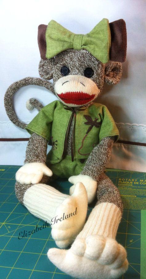 Green Sock Monkey Doll soft baby gift custom plushie girl stuffed animal baby girl gift