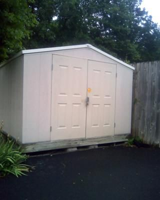 This Shed Is 10x8 Feet X 6 Feet High At The Roof Edge The Peak Adds About Another 1 5 2 Feet At The Peak It Is Probably Shed Vinyl Sheds Outdoor Sheds
