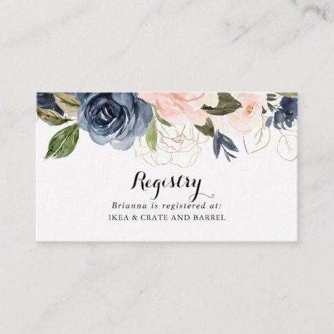 Elegant Unique Winter Floral Wedding Gift Registry Enclosure Card Zazzle Com In 2020 Wedding Gift Registry Floral Wedding Wedding Website
