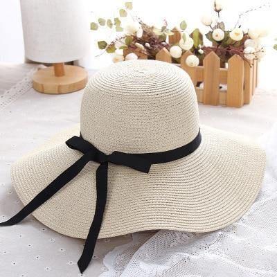Summer Straw Hat Big Wide Brim Floppy Foldable For Ladies - Beige