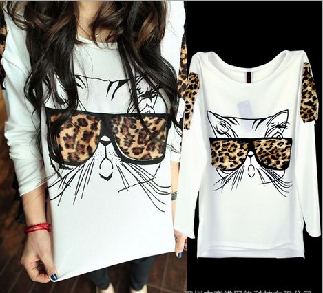 2014 New Design Women's Spring Long Sleeve T Shirt Blouse Leopard Cat Beard T Shirt Tops Clothes-in T-Shirts from Apparel & Accessories on A...