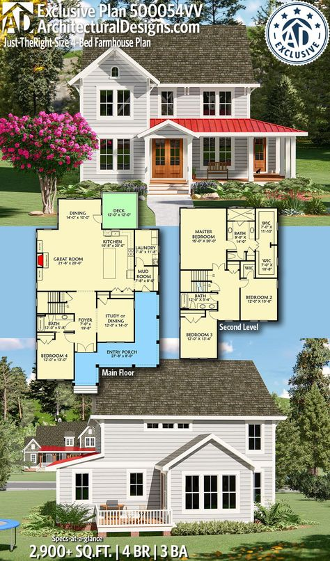 Architectural Designs Exclusive Home Plan 500054VV gives you 4 bedrooms, 3 baths and 2,900+ sq. ft. Ready when you are! Where do YOU want to build? #500054VV #adhouseplans #exclusive  #architecturaldesigns #houseplans #architecture #newhome #farmhouse #country #newconstruction #newhouse #homeplans #architecture #home #homesweethome