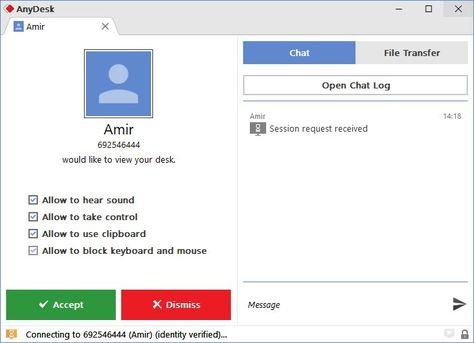کنترل سیستم از راه دور Anydesk Identity Messages