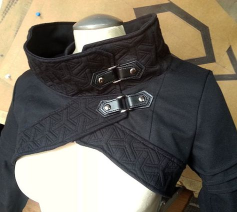 Plutonium, avant garde anime inspired cropped top, jacket with cowl neckline by Plastik Wrap
