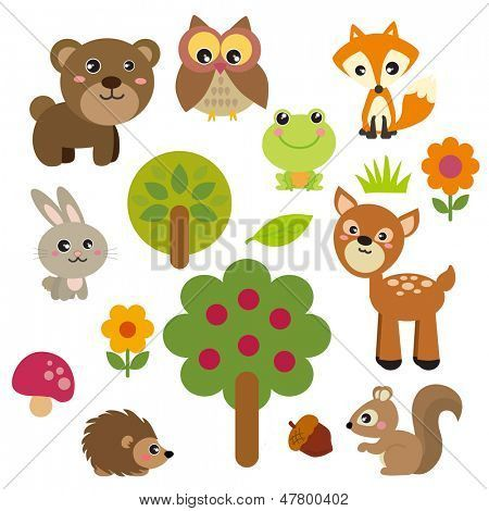 Cute Forest Animals Poster Id 47800402 Animal Clipart Cute Animal Clipart Cute Animal Illustration