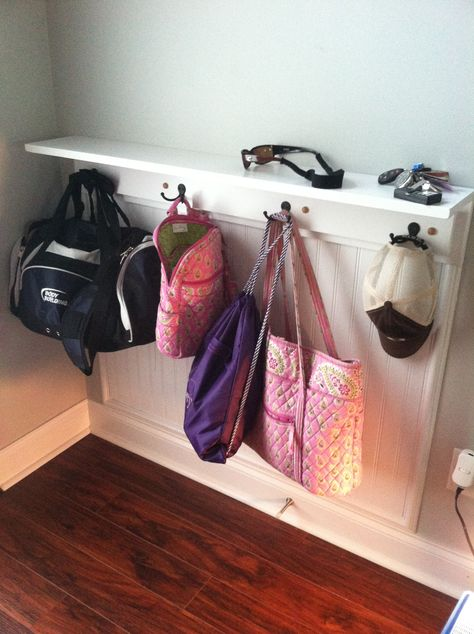 Small entryway hanger and shelf! Great way to keep bags off the floor and countertops decluttered!