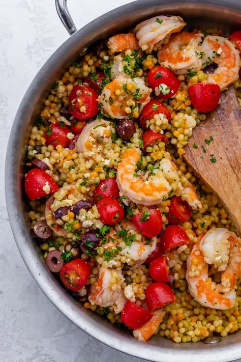 Quick and easy summer recipe, this Mediterranean Couscous dish with shrimp, tomatoes, feta cheese, olives and Capers was made with Mediterra. Mediterranean Couscous, Easy Mediterranean Diet Recipes, Mediterranean Dishes, Couscous Dishes, Couscous Recipes, Shrimp Couscous, Seafood Recipes, Cooking Recipes, Healthy Recipes