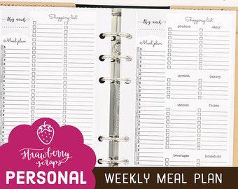 Meal Planner Printable Weekly Meal Plan Planner Inserts