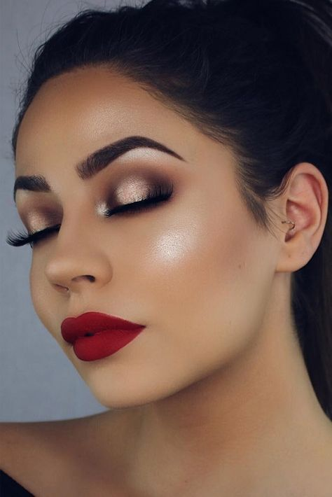 Makeup Glam For Brown Eyes Dark Skin 50 Ideas For 2019 Dark Red