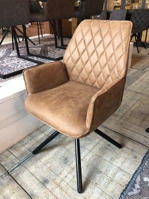 Stuhl Cognac Mit Armlehne Stuhl Gepolstert Cognac 90 Drehbar Leder Wohnzimmer Stuhl Leder Stuhle