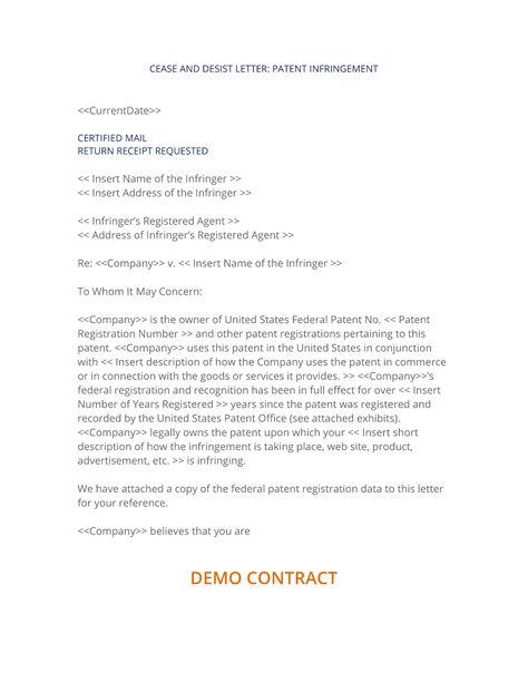 Patent Infringement Cease And Desist Form Cease And Desist Proposal Templates Lettering
