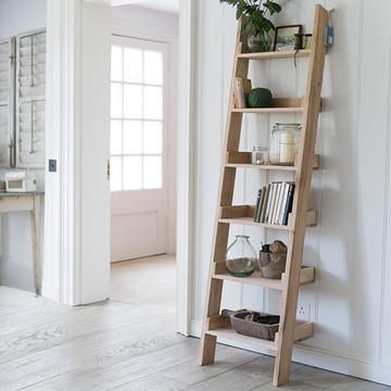 Light Raw Oak Small Shelf Ladder Bookcase Oak Ladder Shelf Shelves Small Shelves