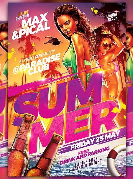Hot Beach Summer Party Flyer Template PSD