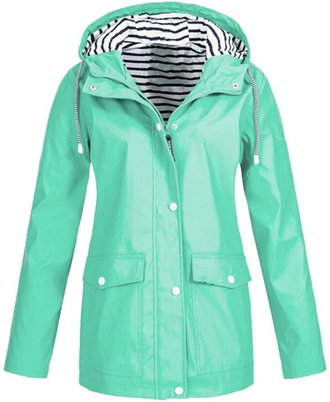 Plus Size Women Long Sleeve Hooded Jacket Ladies Outdoor Windproof Rain Coat New