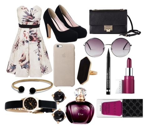 """""""Untitled #56"""" by zinniabanks ❤ liked on Polyvore featuring Little Mistress, Jimmy Choo, Monki, Jaeger, David Yurman, Clinique, Marc by Marc Jacobs, Irene Neuwirth and Gucci"""