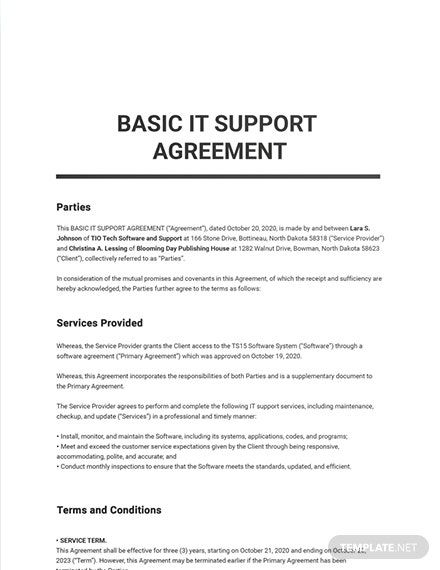 Free Basic It Support Agreement Template Word Doc Apple Mac Pages Google Docs Supportive Word Doc Agreement