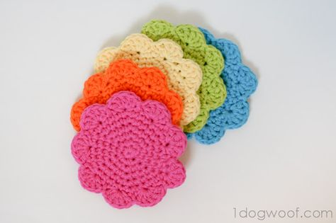 Flower Coasters Pattern - One Dog Woof. ☀CQ #crochet #crafts #DIY. Thanks so much for sharing!