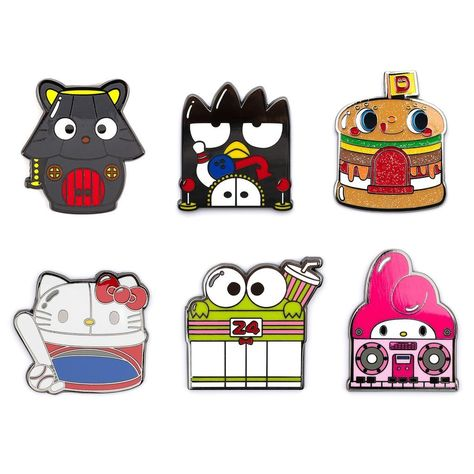 """Our super cute Loungefly enamel pins of Sanrio-character-inspired buildings are here! There's a Chococat lamp house, Badtz-Maru bowling alley, My Melody boombox-style shop, Hello Kitty baseball stadium, Keroppi 24-hour convenience store, and the glitter Dokidoki Burger stand chase! It's a mystery which enamel pin your blind box will reveal.(≧∀≦ゞ) Available in 6 different enamel pin designs Each blind box sold individually and randomly selected Measures approximately 1.5"""" Warning: Choking Hazard."""