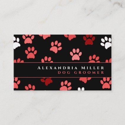Puppy Dog Paw Prints Black Pink White Business Card Zazzle Com Dog Paw Print White Business Card Dog Paws
