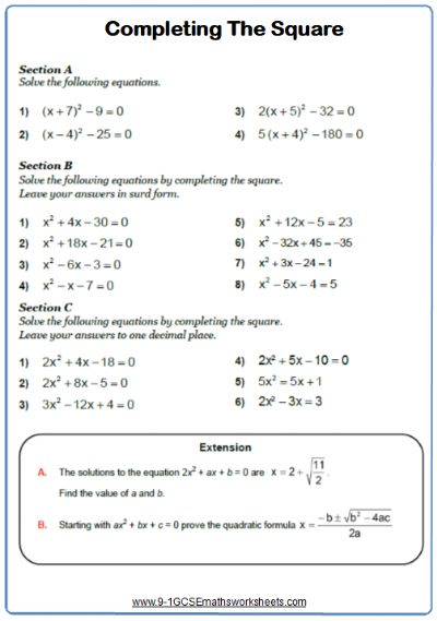 Completing the square maths worksheet   Completing the ...