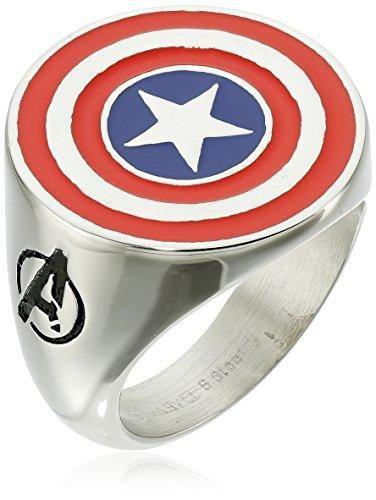 Marvel Comics Men's Stainless Steel Enamel Captain America Ring - 12