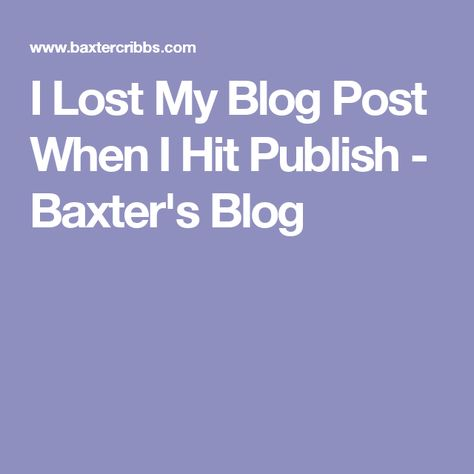 I Lost My Blog Post When I Hit Publish - Baxter's Blog