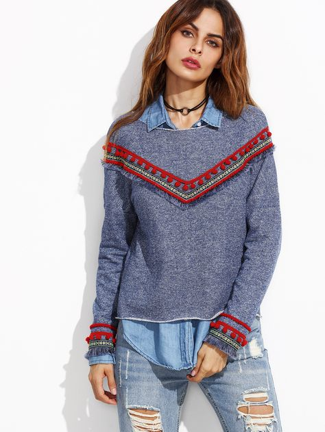 Shop Blue Denim Look Sweatshirt With Embroidered Tape Detail online. SheIn offers Blue Denim Look Sweatshirt With Embroidered Tape Detail & more to fit your fashionable needs.