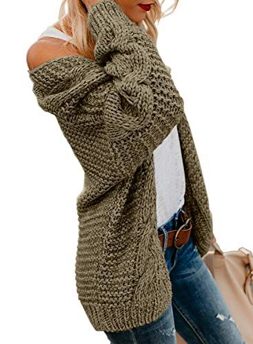 Astylish Women Open Front Long Sleeve Chunky Knit Cardigan