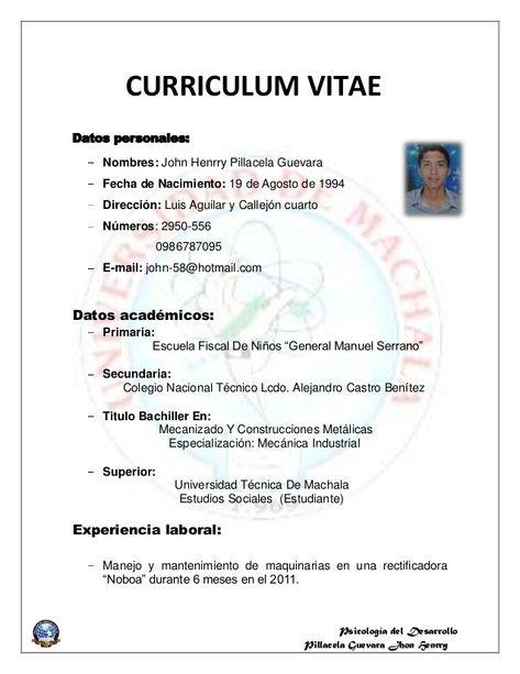 Curriculum Vitae Europeo Formato De Curriculum Vitae Modelos De