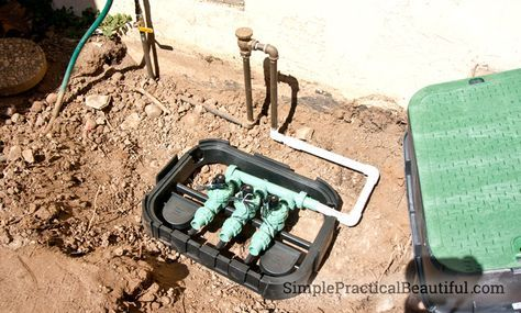 How To Install Irrigation Valves Part 1 Of The Sprinkler System Simple Practical Beautiful Irrigation Valve Irrigation System Diy Sprinkler System Design