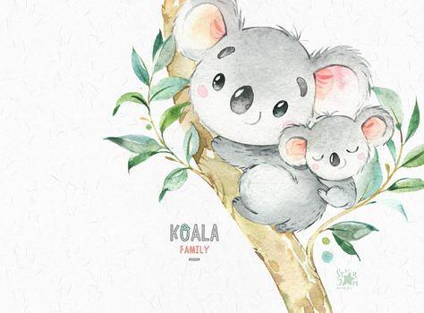 Koala Family. Little animals watercolor clipart Australia