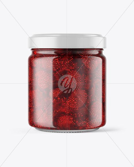 Clear Glass Jar With Strawberry Jam Mockup In Jar Mockups On Yellow Images Object Mockups In 2021 Clear Glass Jars Glass Jars Jar