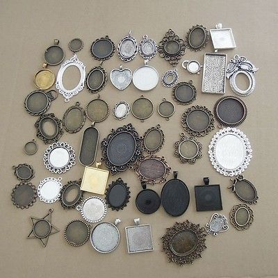 20pcs Mixed Alloy Pendants Charms Cameo Setting Tray Base Crafts Findings 38391