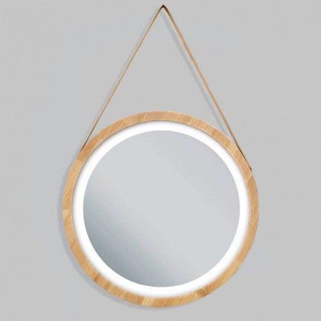 Redondo Con Marco De Madera Bano Luz Em 2020 Espelhos Com Led