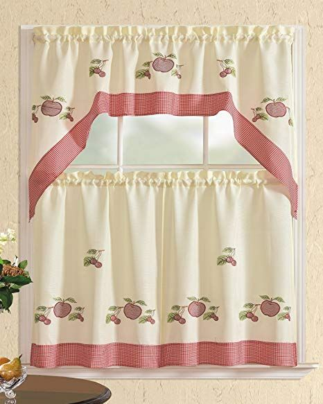 All American Collection New 3pc Attached Embroidered Kitchen Curtain Set White Burgundy 60x Kitchen Curtains Kitchen Curtain Sets Kitchen Window Treatments