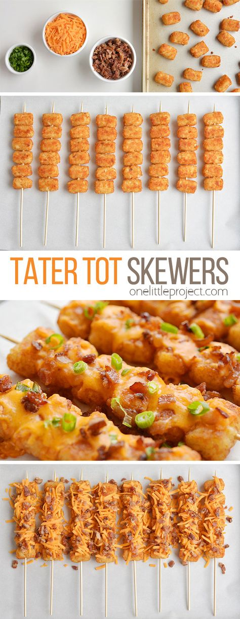 These loaded tater tot skewers are so delicious and they& really easy to m. - - These loaded tater tot skewers are so delicious and they& really easy to make! This is such an easy appetizer recipe. It& great for game da. Skewer Recipes, Easy Appetizer Recipes, Easy Healthy Recipes, Healthy Food, Easy Appetizers For Party, Dinner Healthy, Delicious Appetizers, Easy Party Recipes, Finger Foods For Parties