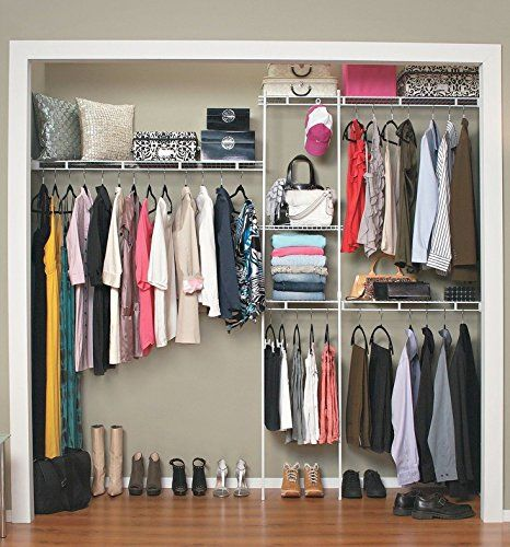 Closet Organizer Shelves System Kit Shelf Rack Clothes Storage Wardrobe Hanger Closet Organizer Kits Closet Shelf Organization Closet Organization