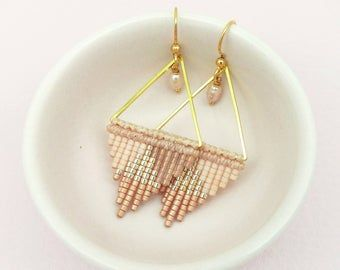 Hand woven triangle earrings made of micromacrame and miyuki delica seed beads neon coral and silver