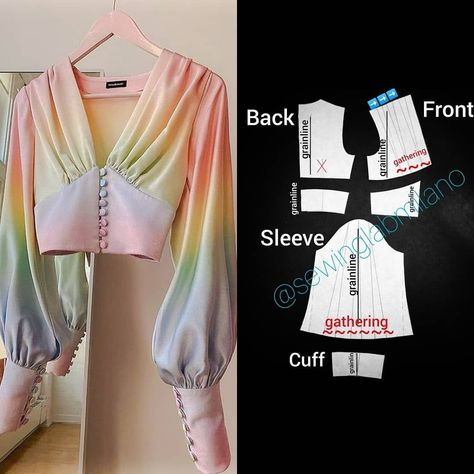 ENG➡️dear here is the pattern of the blouse you sent us! the design is from 😍 start from a basic bodice… Dress Sewing Patterns, Clothing Patterns, Sewing Ruffles, Costura Fashion, Short Shirts, Fashion Basics, How To Make Clothes, Fashion Sewing, Diy Fashion Dresses