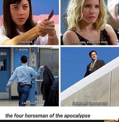 the four horseman of the apocalypse - iFunny :) Brooklyn 9 9, Brooklyn Nine Nine, Tumblr Funny, Funny Memes, Hilarious, Funny Tweets, Parks And Recs, Parks And Rec Memes, Horsemen Of The Apocalypse