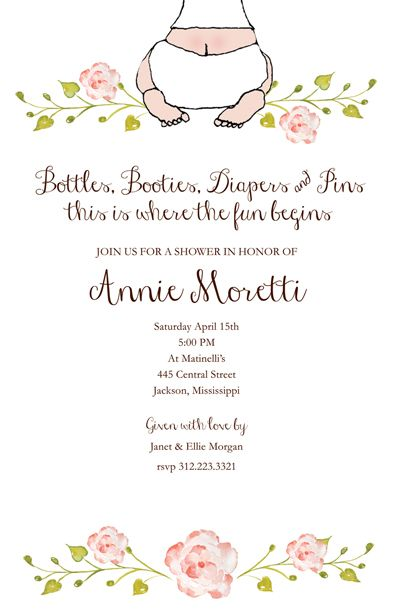 BABY SHOWER INVITATIONS, BABY BOTTOM GIRL, BELLA INK