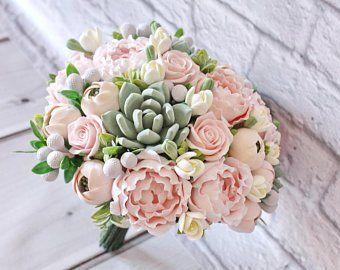 8 Coral Wedding Bouquet Package Fake Bridal Bouquet Succulent