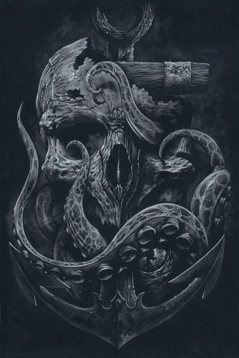 THE LOCKER - Custom Print, Octopus, Skull, Anchor, Black and White Art, Illustrated Art, Art Prints, Wall Art, Tentacles, Nautical