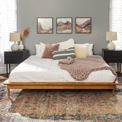Bedroom Inspirations, Home Bedroom, Bedroom Interior, Bedroom Design, Solid Wood Platform Bed, Bedroom Decor, Home Decor, Bedroom Furniture, Room Ideas Bedroom