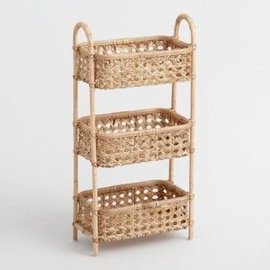 Stylish storage for the bathroom, kitchen or home office, our three& tower features a sturdy metal frame wrapped in warm& natural rattan. Handcrafted in the Philippines with an open cane weave, it offers versatile storage with airy, organic appeal.