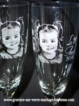 portrait grave sur verre bapteme photo