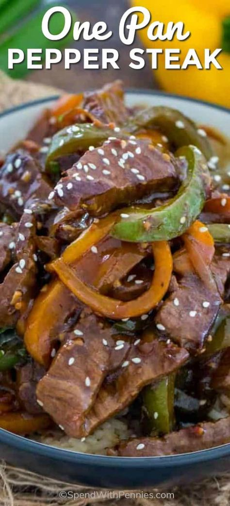 This delicious One Pan Pepper Steak recipe is a classic Chinese American dish, that you can easily make at home in just 30 minutes or less. #spendwithpennies #easyrecipe #beefrecipe #withpeppers #easydinner #onepan via @spendpennies